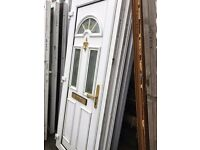 Recycled White Upvc Front Door with gold furniture 845 x 2100 - £120.