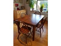 Malaysian Ash extendable dining table and 4 chairs