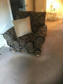 Three seater settee chair and footstool with storage