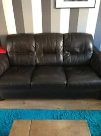 Leather 3 seater settee and chair
