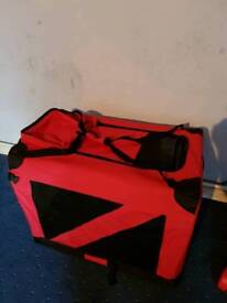 Red fabric dog crate
