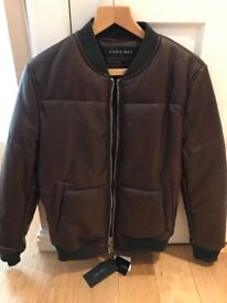 ZARA Men's Brown Leather Jacket - Size M - *Brand New (With Tags)*