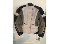 Spada Manca Women's Lily Motorbike Jacket in Grey, White and Black.