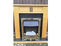 Electric fire with wood surround