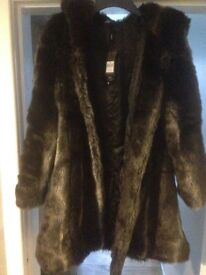 Warm Faux Fur Coat with tags size 18