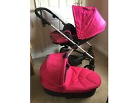 Beautiful Delphic Pink Sola2 Pram with Extras - BARGAIN FOR QUICK SALE