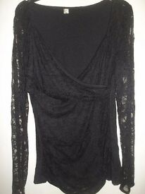 Black lace cross over fronted top. Size Medium 10-12