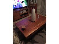 Next solid wood coffee table tv cabinet set of side tables and a side board two years old