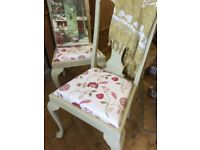 Annie Sloan painted vintage chairs seats upholster dining cream burgundy green in Annie Sloan paint.