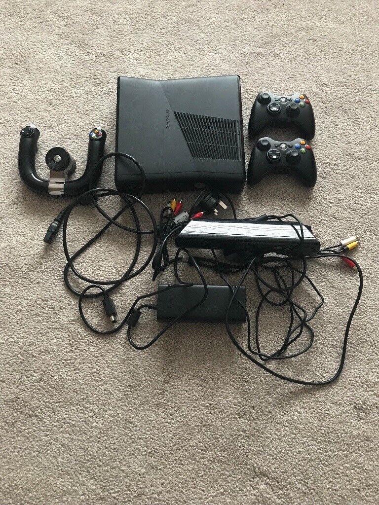 X box 360, 2wireless Control\'s, steering wheel, Kinect sensor and 20 ...