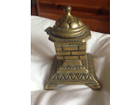 Lovely decorated brass Victorian chimney pot inkwell