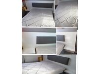 White Bed Headboard with Nightstands