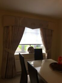 """Curtains professionally Gold double width fully lined 84"""" drop plus pelmit 84"""" wide £125."""