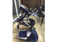 UPPAbaby Vista 2015 Pushchair/Rumble seat/cot + all adaptors in Taylor Navy