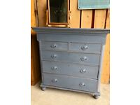 Painted Victorian Mahogany Drawer Chest Annie Sloan Old Violet shabby chic