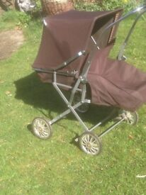 VINTAGE SWALLOW PRAM/PUSHCHAIR IN DECENT USED CONDITION .