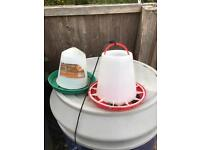 Chicken feeders and water drinkers