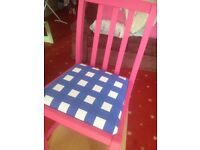 Up cycled pink chair with blue and white check covered seat