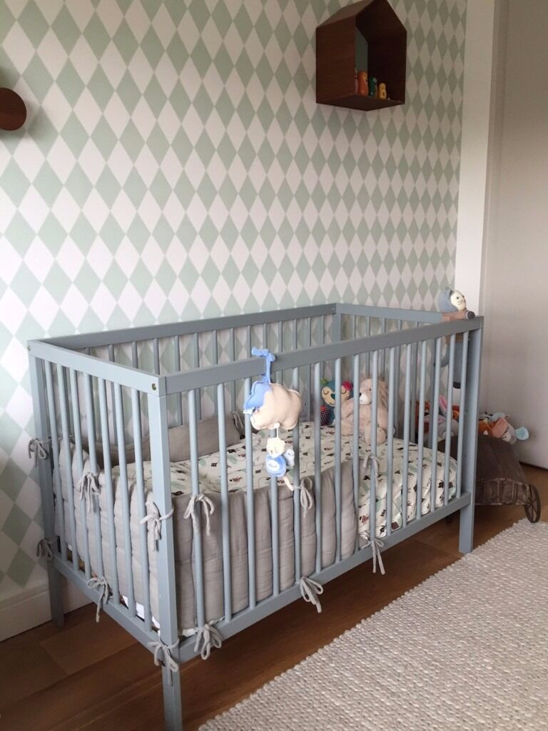 mokee cot bed in stone teal colour grey john lewis