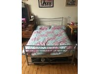 Silver double bed frame and mattress