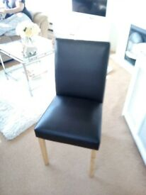 4 brown faux leather ding chairs