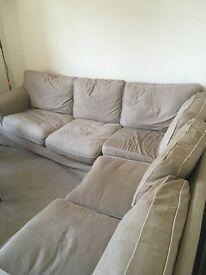 L shape beige ikea sofa - seats 5