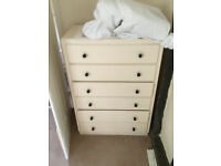 Chest of drawers, wooden, white, good condition.