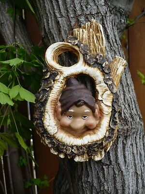 GNOME TREE KNOT 7 IN. LOOKING TREE PIXIE PEEKING Hear No Evil Yard Garden Decor  - Evil Garden Gnome