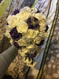 Wedding bridal bouquet and cake topper