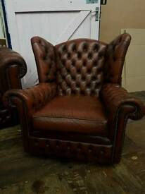 Brown Chesterfield Wing Back Chair