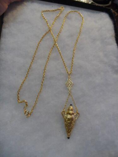 Vintage brushed gold tone filigree black cabochon urn necklace