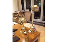 2 Desk lamps brass- bendy adjustable- can be seen working
