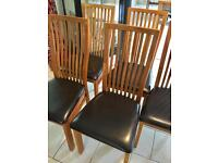 Solid Oak & Leather Dining Chairs x 8!