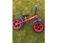 Kids Spider-Man balance bike for sale.