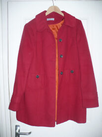 Ladies long red coat/ jacket size 16 from Dorothy Perkins. Very good condition.