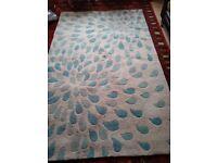Teal pattern rug