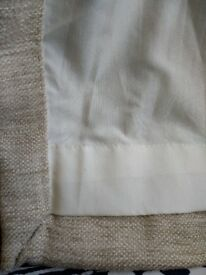 Pair of M&S natural oatmeal lined curtains