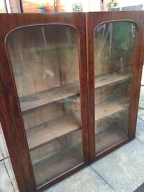 Antique Glazed Book Shelves, Large size /wall/floor/top for a base. Collection only Macclesfield.
