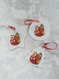 German Reuter Porcelain - Vintage Santa Hanging Ornaments
