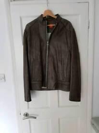 Huge boss leather jacket mens