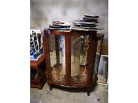 Vintage China Display Cabinet / Bar with Lockable Doors & 2x Glass Shelves * Stockbridge *