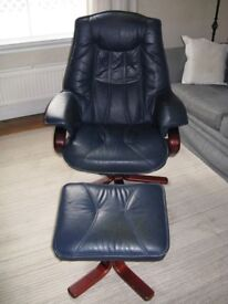 SWIVEL RECLINER ARMCHAIR AND FOOTSTOOL