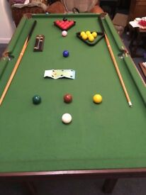 Pool/Snooker table -approx 6ft by 3ft, Snooker and 8 ball Pool balls, 2 cues and score counter