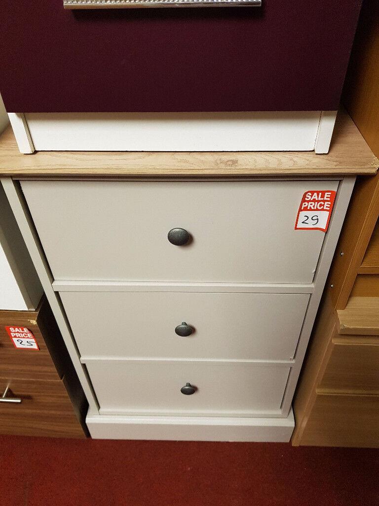 Kensington 3 drawer bedside - Oak and Grey