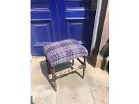 Mahogany Stool with tartan upholstery Size - L 50cm D 40cm H 56cm