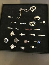 Tray Of Assorted 21 Silver Rings and Pendent