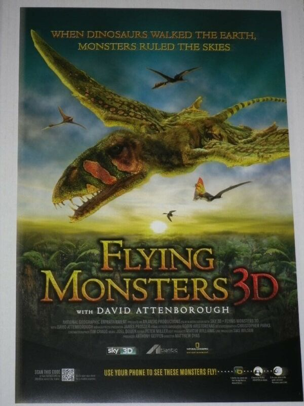 FLYING MONSTERS 12x18 PROMO MOVIE POSTER *DINOSAURS*