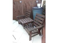 LARGE WODEN GARDEN BENCH RECLINE SEATS CAND ELIVER