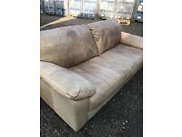 Beautiful Designer Italian Soft Leather Mocha 3 Seater Sofa. Excellent Condition. Can Deliver.