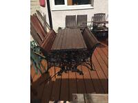 Vintage heavy duty cast iron table and benches